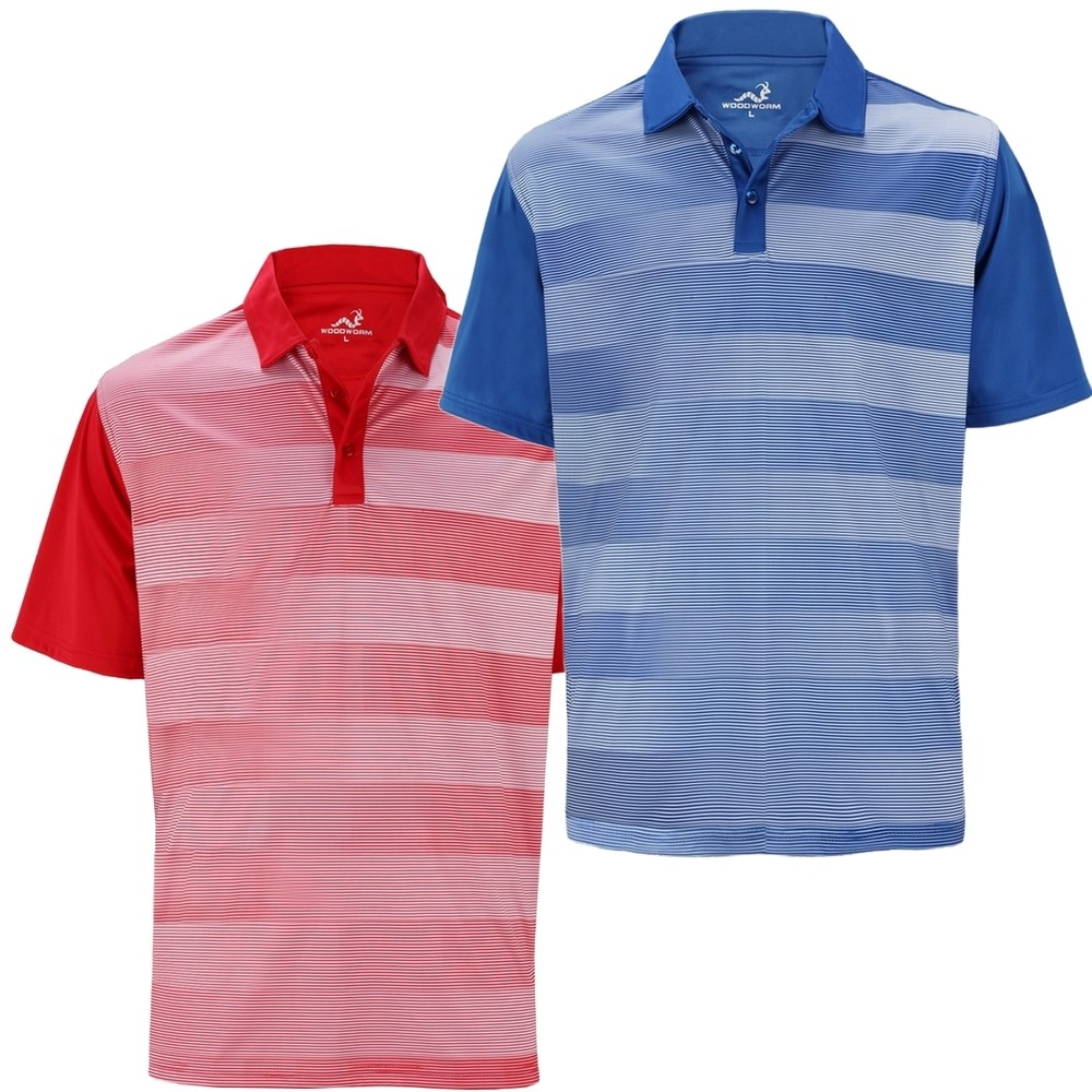 Woodworm Fairway Stripe Golf Polo Shirt 2 Pack Woodworm Direct