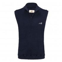 Woodworm Sleeveless Sweater Vest with Zip - Navy