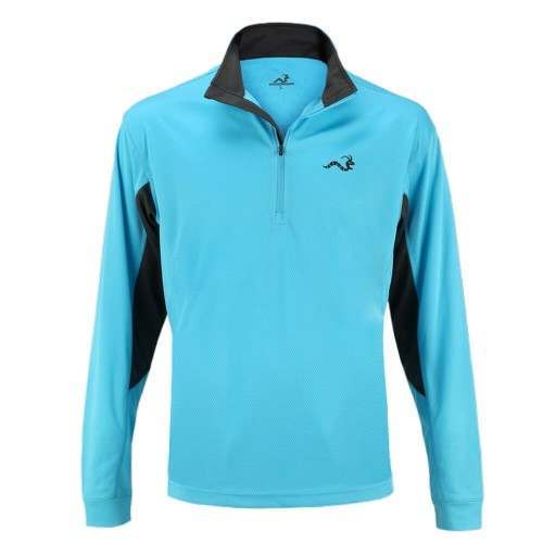 Woodworm 1/2 Zip Tech Golf Pullover -Sky Blue/Grey