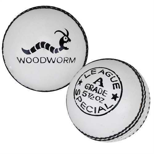 6 x Woodworm League 5 1/2oz Cricket Balls - White